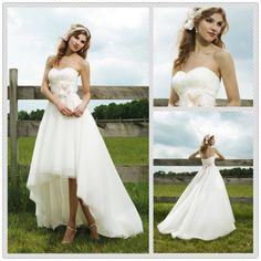 0073 New Sweetheart White Asymmetric Pink Satin Sash short front long back Garden short wedding dresses with long train