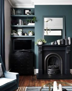 DIY floating alcove shelves in Victorian living room painted in Farrow & Ball inchyra blue with period-style cast iron fireplace Built In Shelves Living Room, Living Room With Fireplace, New Living Room, Living Room Decor, Cast Iron Fireplace Bedroom, Alcove Ideas Living Room, Victorian Living Room, Victorian Fireplace, Victorian Homes