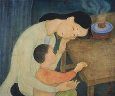 Mère et Enfant (Mother and Child) Mother And Child, Chinese Art, Asian Art, Gouache, Images, Auction, Museum, Ink, Gallery