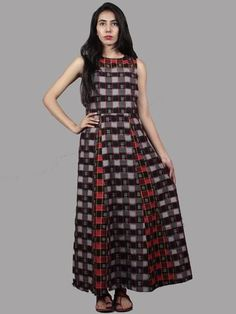Black Grey Red Ivory Handwoven Double Ikat Cotton Sleeveless Dress - D5465801 New Dress, Dress Up, Cute Spring Outfits, Buy Dresses Online, Maxi Gowns, Tiered Dress, Asymmetrical Dress, Ikat, Cotton Dresses
