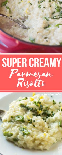 A classic super creamy Parmesan risotto recipe that features a simple no-stir method!