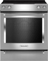 KitchenAid - 6.4 Cu. Ft. Self-Cleaning Slide-In Electric Convection Range - Stainless-Steel - Front Zoom