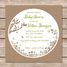 Woodland baby shower invitation / rustic nature baby shower invites / digital file or professionally printed invitation