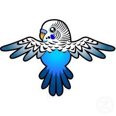 Cartoon Budgie (blue) Cut Outs