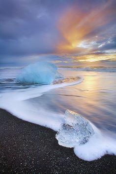 Iceland, ice, black sand, sunset