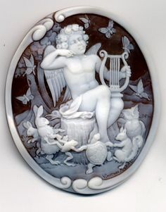 """Cameo with a """"child"""" Orpheus, charming little beasties with his lyre strumming- - - (poss. later 19th C or early 20th C.)"""