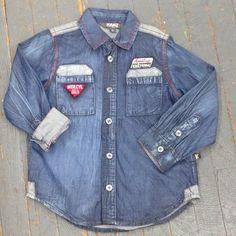 Kanz Junior Boys Bikers Style Long Sleeve Button Up Collared Denim Shirt