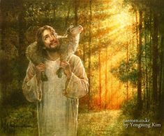 The Lamb-Shepherd  and the little found one --- Yongsung Kim biblicalart/Facebook
