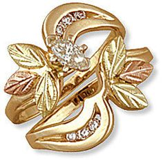 N. Ladies Black Hills Gold Wedding Set with Engagement Ring