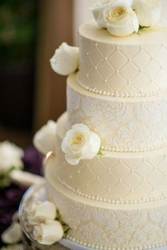 Beautiful lace and quilt patterned cake by Ashley Cakes #wedding with wedding colors. Lace print over red or gray?