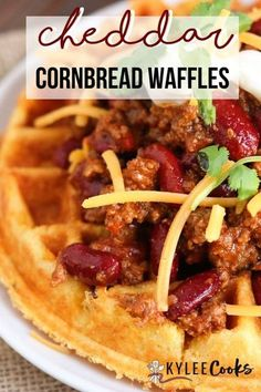 A fresh take on your traditional waffle, these savory Crispy Cheddar Cornbread Waffles are the perfect vehicle for chili, and so much fun to eat! #cornbread #waffle #savory #kyleecooks Best Lunch Recipes, Vegan Recipes Easy, Brunch Recipes, Fall Recipes, Whole Food Recipes, Breakfast Recipes, Dinner Recipes, Breakfast Ideas, Keto Recipes