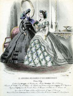 Fashion plate from Le Journal des dames et des demoiselles, February 1864
