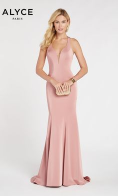 Alyce Paris - 60281 Deep Halter V-neck Stretch Crepe Trumpet Dress – Couture Candy Trumpet Dress, Prom Dress Stores, Designer Prom Dresses, Dress Silhouette, Types Of Dresses, Couture, Formal Gowns, Dress Formal, Formal Wear
