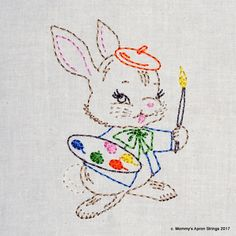 Vintage Artist Bunny Machine Embroidery Design 2 sizes, 4x4 or 5x7 colorwork linework, INSTANT DOWNLOAD. girl, boy, toddler, baby
