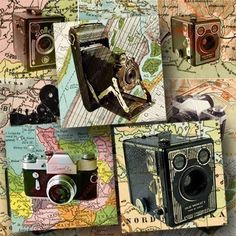 New  Vintage Cameras and Maps digital collage sheet in 2 by piddix, $3.25