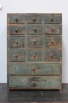 century antique apothecary chest, dovetailed case and drawers, old robins egg blue paint Primitive Furniture, Primitive Antiques, Country Furniture, Country Primitive, Antique Furniture, Painted Furniture, Primitive Cabinets, Painted Armoire, Robins Egg Blue Paint