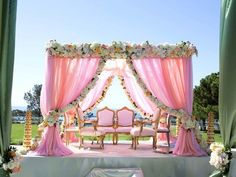 #bookeventz #pink #outdoor #roses #wedding #mandap #decor.  BookEventz is India's first booking platform, which provides one stop solution to all event services.