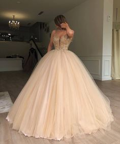 Charming Gorgeous Spaghetti Straps Tulle Long Popular Prom Dresses with bead, party queen dress , Sweet 16 Dresses, Pretty Dresses, Beautiful Dresses, Awesome Dresses, Gorgeous Dress, Tulle Ball Gown, Ball Gowns Prom, Tulle Balls, Evening Dresses