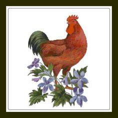 Rhode Island Red Chicken and Violet Cross Stitch