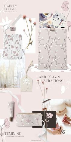 Dainty Floral Patterns & Elements by Youandigraphics on @creativemarket