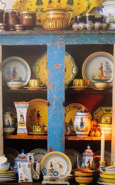 Quimper (Pure French Country) gorgeous display in a most wonderful primitive cupboard.......