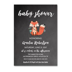 Editable PDF Baby Shower Invitation DIY - Chalkboard Tribal Fox - Instant Download Printable- Edit in Adobe Reader