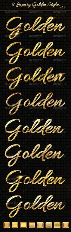 8 Luxury Golden Text Styles vol2