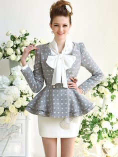 Morpheus Boutique  - Grey Dots Lady Trendy Shoulder Long Sleeve Pleated Suit Jacket