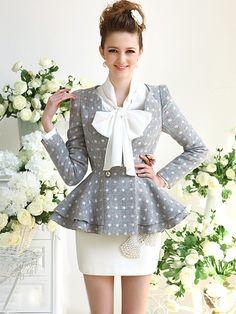 Morpheus Boutique  - Grey Dots Lady Trendy Shoulder Long Sleeve Pleated Suit Jacket