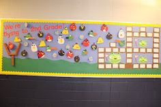 "End of the year bulletin board - Angry Birds - ""We are flying to 2nd Grade!"""