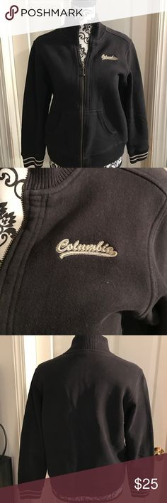 Columbia fleece varsity jacket Columbia fleece varsity jacket. Great for early spring or fall. Black high striped cuffs. Worn but still had a lot of love. Runs a little small for a large Columbia Tops Sweatshirts & Hoodies