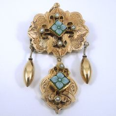 9k Yellow Gold Victorian Convertible Brooch/Pendant with Seed Pearls. - $425