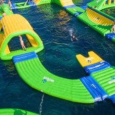 """Whether you're looking for that """"WOW"""" factor or a small addition to your pool or existing aqua park, the biggest bang for your buck is right here. Inflatable water products are a cost-effective way to intensify the fun and deliver action-packed water recreation for your guests. Climbers, bouncers, tricky bridges, jumps, curves… connect them or add stand-alones to fit your space. We'll help you make it your way and make sure it's fun!"""