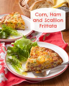 Quick breakfast for dinner idea: Corn, Ham and Scallion Frittata recipe