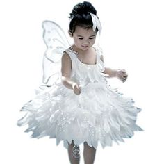 White Angel Costume for Girls, White Feather Pageant Dress, 5-6 Yrs