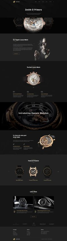 Sapphire - Luxury Watch Retail PSD Template #luxury product #luxury watch #psd • Download ➝ https://themeforest.net/item/sapphire-luxury-watch-retail-psd-template/19241275?ref=pxcr