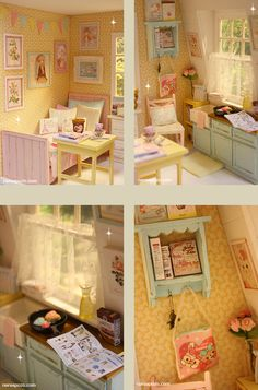 ♥ NEW DIORAMA SUNNY COLORS ATTIC ♥ For around 16 cm doll like Lati yellow, Middie Blythe, Puki fee , odeco and nikki , licca , enyo , e...