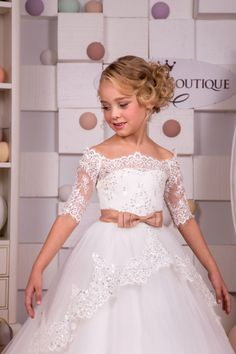 Ivory Lace Flower Girl Dress - Birthday Wedding Party Holiday Bridesmaid Flower Girl Ivory Tulle Lace Flower Girl Dress by KingdomBoutiqueUA Ivory Flower Girl Dresses, Lace Flower Girls, Lace Flowers, Little Girl Dresses, Girls Dresses, First Communion Dresses, Bridesmaid Dresses, Wedding Dresses, Birthday Dresses