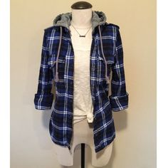 Long Sleeve Hooded (Blue) Flannel sz M Long Sleeve Hooded (Blue) Buffalo Check Flannel sz S  It's a random brand and runs small, even though it says it's a size M it fits more like a size S. The top and necklace are NOT included, sold separately.                                                 NO TRADES NO PAYPAL Tops
