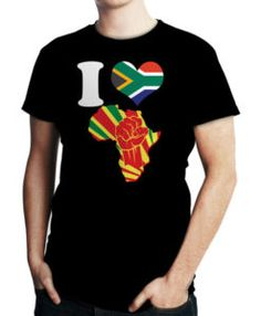 Men's I Love Africa Map Fist South Africa Flag T-Shirt