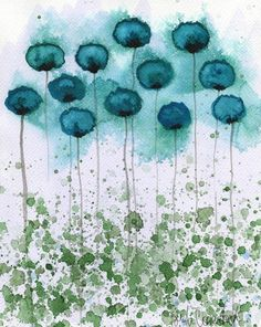 Watercolor Painting: Watercolor Flower Painting -- Art Print --  Object of My Affection -- Teal Flowers -- 8x10