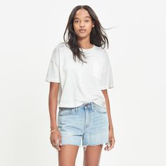 Browse the best denim short outfit inspiration and products at @Stylecaster | Denim Boyshorts: Cutoff Edition, $64.50; at Madewell