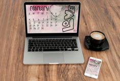 February 2018 desktop calendar created by Carmen Whitehead Designs Art Journal Pages, Art Journaling, Art Studio Organization, Collage Background, Sewing Spaces, Desktop Calendar, Reading Art, Flower Patch, Creative Studio