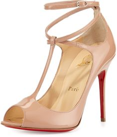 Christian Louboutin Talitha Patent T-Strap Red Sole Pump, Nude