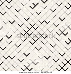 Vector seamless pattern. Modern stylish texture with zigzag. Repeating geometric background with square grid and chevron.