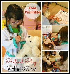 Set up a Pretend Play Vets Office - Free Printable for Vets Office for kids. #kids #dramaticplay #pretend