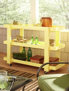 This DIY rolling serving cart is easy to build. Popular DIY blogger Ana White created it especially for The Home Depot's Do-It-Herself Workshops. Click through for the tutorial on The Home Depot Blog.