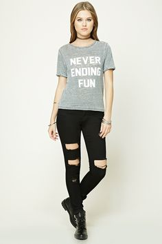 "A burnout knit tee featuring a ""Never Ending Fun"" graphic, round neckline, short sleeves, and a rolled trim."