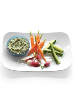 Creamy Spinach and Sweet-Onion Dip With Crudites. * w. Sauteed sweet onion, watercress, avocado, grk. yogurt. by Martha Stewart. Sounds great!