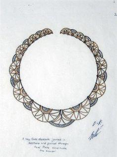 Jewelry study by Erte: Zizi necklace